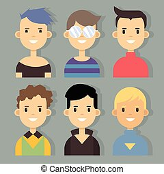 Vector set of stylish male characters in modern flat design.