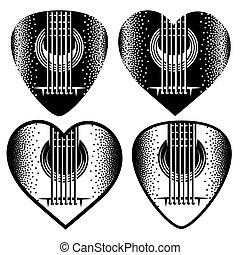 vector set of stylish monochrome plektrum for guitar