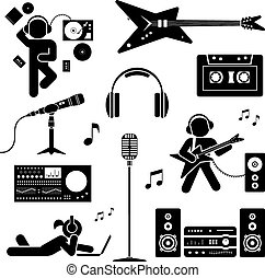 Vector set of  stylized dj icons
