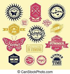 Vector Set of Summer labels.