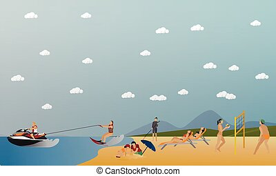 Vector set of summer recreation concept banners in flat style. People playing water sport on a beach
