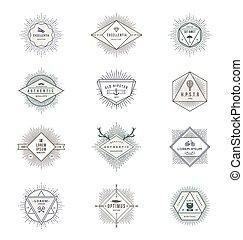 Vector set of sunburst line signs and emblems with hipster symbols.eps