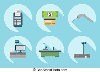 Vector set of supermarket icons.