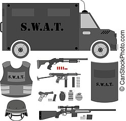 Vector set of swat, police gear. Swat bus, shield, helmet, shotg