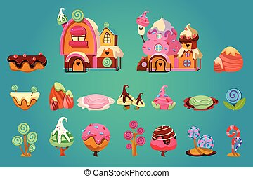 Vector set of sweet landscape elements for fantasy computer or mobile game. Candy land. Gingerbread houses, stones, various plants and platforms. Gaming assets