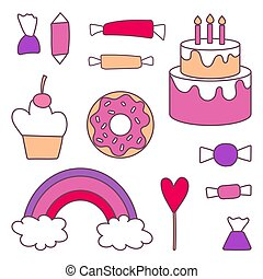 Vector set of sweets and cake in a linear style. Elements for design postcard, invitation, poster