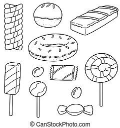 vector set of sweets and candies