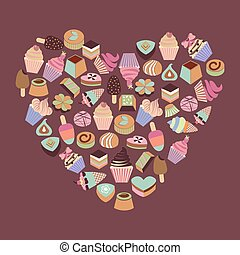 Sweets assortment of chocolates candy, ice-cream, cupcake