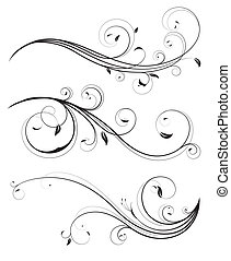 floral elements - Vector set of swirling flourishes ...