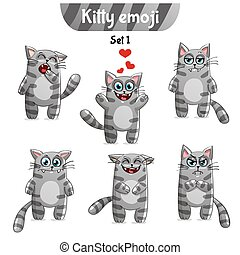 Vector set of tabby cat characters. Set 1