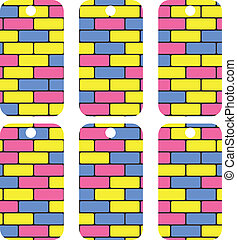 tags with colorful bricks