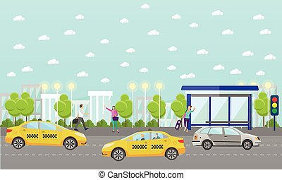 Vector set of taxi service company concept banners. People catch cab on a street.