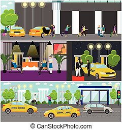 Vector set of taxi service company concept banners. People catch car on a street.