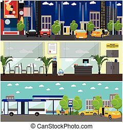 Vector set of taxi service company concept banners. Yellow cabs on a street