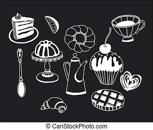 Vector set of tea and sweets