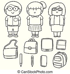 vector set of teacher and student
