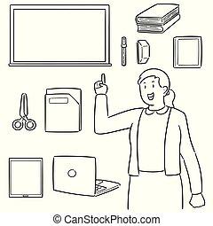vector set of teacher and teaching equipment