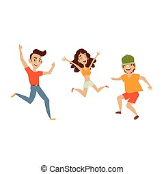 Vector set of teenagers in casual clothing funny dances. Flat cartoon illustration isolated on a white background. Young girl and boys have fun dancing and smiling cheerfully.