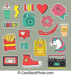 Vector set of teenagers stickers and patches