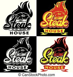 Vector set of templates for steak house with calligraphic lettering