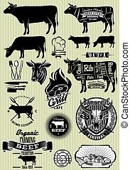 set of templates on the theme of cow beef for design