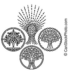 set of templates with trees for Badges, stamps, logos