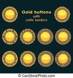 Vector set of ten golden celtic knotwork buttons