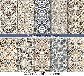 Vector set of ten seamless abstract patterns in ethnic style.