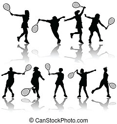 tennis players - vector set of tennis players