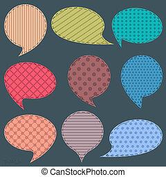Vector set of textile speech bubbles