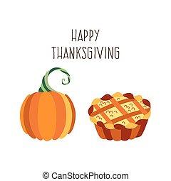 Vector set of thanksgiving pie and pumpkin