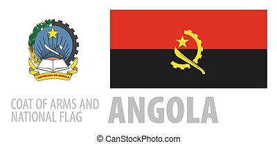 Vector set of the coat of arms and national flag of Angola