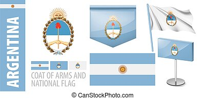 Vector set of the coat of arms and national flag of Argentina