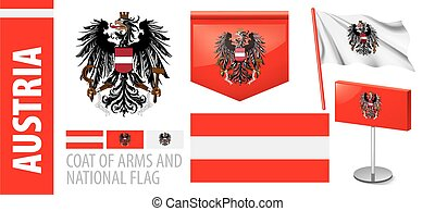 Vector set of the coat of arms and national flag of Austria