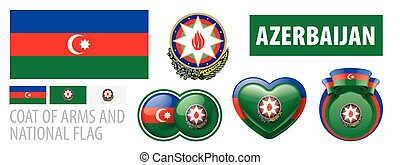 Vector set of the coat of arms and national flag of Azerbaijan