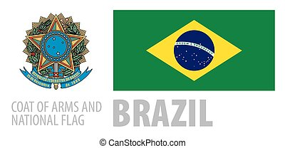 Vector set of the coat of arms and national flag of Brazil