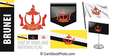 Vector set of the coat of arms and national flag of Brunei