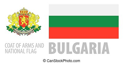 Vector set of the coat of arms and national flag of Bulgaria
