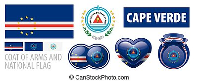Vector set of the coat of arms and national flag of Cape Verde