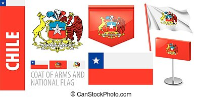 Vector set of the coat of arms and national flag of Chile