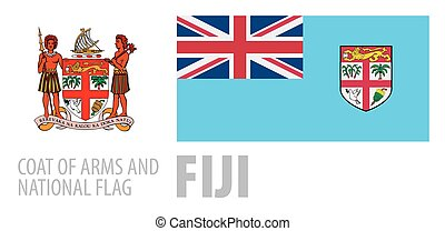 Vector set of the coat of arms and national flag of Fiji