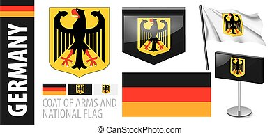 Vector set of the coat of arms and national flag of Germany