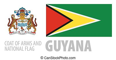 Vector set of the coat of arms and national flag of Guyana