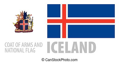Vector set of the coat of arms and national flag of Iceland