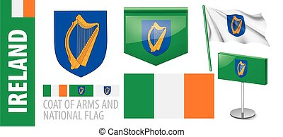 Vector set of the coat of arms and national flag of Ireland