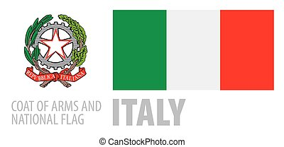 Vector set of the coat of arms and national flag of Italy