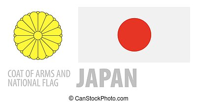 Vector set of the coat of arms and national flag of Japan