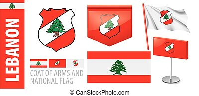 Vector set of the coat of arms and national flag of Lebanon