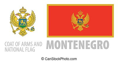 Vector set of the coat of arms and national flag of Montenegro