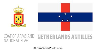 Vector set of the coat of arms and national flag of ...